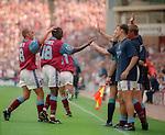 Dwight Yorke of Aston Villa celebrates his goal - Barclays Premier League - Aston Villa v Manchester Utd - Villa Park Stadium - Birmingham - England - 19th August 1995 - Picture Sportimage