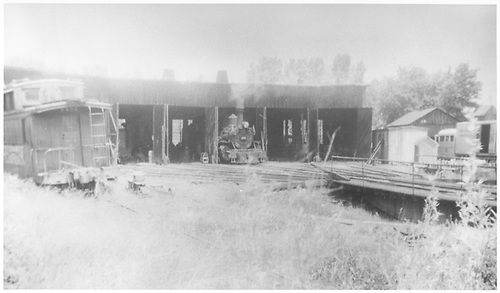 K-27 #455 and Goose #4 in roundhouse at Ridgway.<br /> RGS  Ridgway, CO