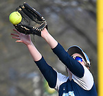 Belleville East's Stephanie Hull catches this line drive to third base in the fourth inning. Belleville East hosted Belleville West in softball on Tuesday April 24, 2018.  Tim Vizer | Special to STLhighschoolsports.com