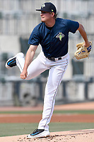 Starting pitcher Thomas McIlraith (24) of the Columbia Fireflies delivers a pitch in a game against the Rome Braves on Sunday, July 2, 2017, at Spirit Communications Park in Columbia, South Carolina. Columbia won, 3-2, as McIlraith threw siz no-hit innings. (Tom Priddy/Four Seam Images)