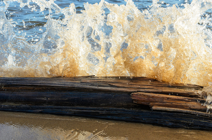 A Lake Superior wave impact frozen in time reveals a variety of textures and shapes.