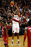 12/26/11--Trail Blazers forward LaMarcus Aldridge takes a jumpshot in the season-opener with the Philadelphia 76ers at the Rose Garden...Photo by Jaime Valdez. ........................................