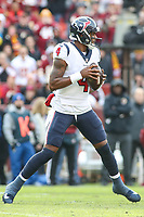 Landover, MD - November 18, 2018: Houston Texans quarterback Deshaun Watson (4) in action during the  game between Houston Texans and Washington Redskins at FedEx Field in Landover, MD.   (Photo by Elliott Brown/Media Images International)