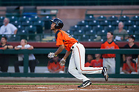 AZL Giants left fielder Aaron Bond (38) bats during a game against the AZL Angels on July 10, 2017 at Scottsdale Stadium in Scottsdale, Arizona. AZL Giants defeated the AZL Angels 3-2. (Zachary Lucy/Four Seam Images)