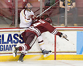 Brian Dumoulin (BC - 2), Conor Allen (UMass - 4) - The Boston College Eagles defeated the University of Massachusetts-Amherst Minutemen 3-2 to take their Hockey East Quarterfinal matchup in two games on Saturday, March 10, 2012, at Kelley Rink in Conte Forum in Chestnut Hill, Massachusetts.