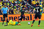 11 June 2010, South African teko Modise fouls Mexico's Carlos Vela in the opening game of the 2010 Fifa World Cup between South Africa and Mexico at the Soccer City stadium in Johannesburg. The game ended in a one all draw. Picture: Shayne Robinson