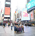 """The cast of TLC's """"7 Little Johnstons"""" filming  a visit to Times Square on January 4, 2019 in New York City."""