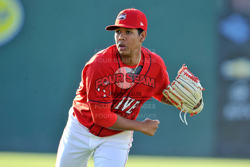 Starting pitcher Anderson Espinoza (23) of the Greenville Drive warms up before a game against the Columbia Fireflies on Saturday, April 23, 2016, at Fluor Field at the West End in Greenville, South Carolina. Columbia won, 7-3. (Tom Priddy/Four Seam Images)