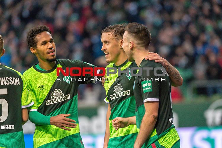 10.02.2019, Weser Stadion, Bremen, GER, 1.FBL, Werder Bremen vs FC Augsburg, <br /> <br /> DFL REGULATIONS PROHIBIT ANY USE OF PHOTOGRAPHS AS IMAGE SEQUENCES AND/OR QUASI-VIDEO.<br /> <br />  im Bild<br /> <br /> jubel tor 4:0 Kevin Möhwald / Moehwald (Werder Bremen #06)<br /> Kevin Möhwald / Moehwald (Werder Bremen #06)<br /> Max Kruse (Werder Bremen #10)<br /> Theodor Gebre Selassie (Werder Bremen #23)<br /> Foto © nordphoto / Kokenge