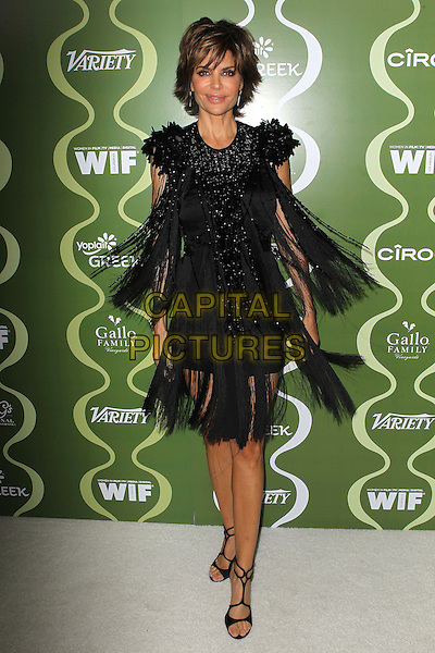 Lisa Rinna<br /> Variety &amp; Women In Film Pre-Emmy Event presented by Yoplait Greek held at Scarpetta, Beverly Hills, California, USA, <br /> 20th September 2013.<br /> full length black dress tassels beaded shoulders sparkly beaded open toe shoes sandals<br /> CAP/ADM/KB<br /> &copy;Kevan Brooks/AdMedia/Capital Pictures