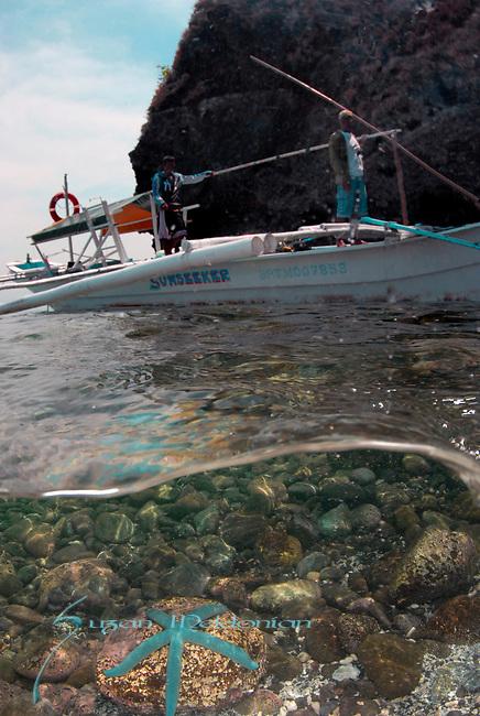 Over Under-Anilao Boat w Blue Starfish, Kirby, Anilao; Batangas; Philippines