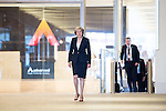 © Joel Goodman - 07973 332324 . 02/10/2016 . Birmingham , UK . THERESA MAY arrives at the BBC at the Mailbox Birmingham for the Marr Show . The first day of the Conservative Party Conference at the International Convention Centre in Birmingham . Photo credit : Joel Goodman