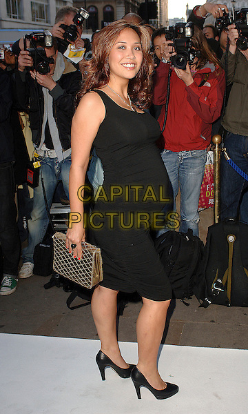 MYLEENE KLASS.attending the LK High Street Fashion Awards, Cafe de Paris, London, England, 14th May 2007..full length black dress gold clutch bag pregnant shoes.CAP/BEL.©Tom Belcher/Capital Pictures.