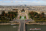 View from Eiffel Tower, Seine River and Palais de Chaillot and Jardin du Trocadero, Paris, France .  John offers private photo tours in Denver, Boulder and throughout Colorado, USA.  Year-round. .  John offers private photo tours in Denver, Boulder and throughout Colorado. Year-round.