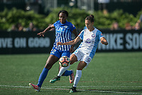 Allston, MA - Saturday August 19, 2017: Ifeoma Onumonu, Kristen Edmonds during a regular season National Women's Soccer League (NWSL) match between the Boston Breakers and the Orlando Pride at Jordan Field.