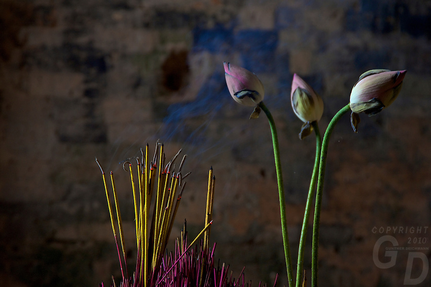 Lotus Flowers and Incense Prea Rup East Meabon, Cambodia
