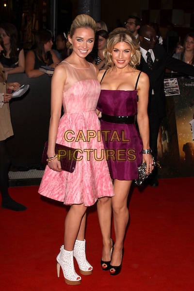 "NOELLE RENO & HOFIT GOLAN .""Water For Elephants"" UK film premiere,.Vue Westfield, Upper Level, Westfield Shopping Centre, White City, London, England, UK..May 3rd 2011.full length dress purple ankle boots cut out pink nude sheer flesh mesh sleeveless white platform wooden peep toe cut out clutch bag black .CAP/AH.©Adam Houghton/Capital Pictures."