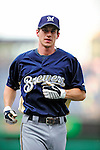 21 August 2009: Milwaukee Brewers' infielder Craig Counsell warms up prior to a game against the Washington Nationals, at Nationals Park in Washington, DC. The Brewers defeated the Nationals 7-3 in the first game of their four-game series. Mandatory Credit: Ed Wolfstein Photo