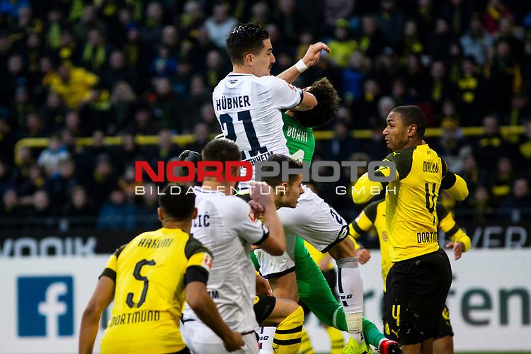 09.02.2019, Signal Iduna Park, Dortmund, GER, 1.FBL, Borussia Dortmund vs TSG 1899 Hoffenheim, DFL REGULATIONS PROHIBIT ANY USE OF PHOTOGRAPHS AS IMAGE SEQUENCES AND/OR QUASI-VIDEO<br /> <br /> im Bild | picture shows:<br /> Foulspiel von Benjamin Huebner (Hoffenheim #21) an Roman Buerki (Borussia Dortmund #1),  <br /> <br /> Foto &copy; nordphoto / Rauch