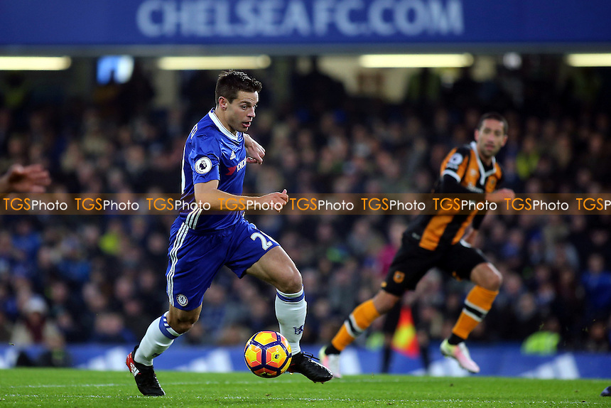 Cesar Azpilicueta of Chelsea races upfield during Chelsea vs Hull City, Premier League Football at Stamford Bridge on 22nd January 2017