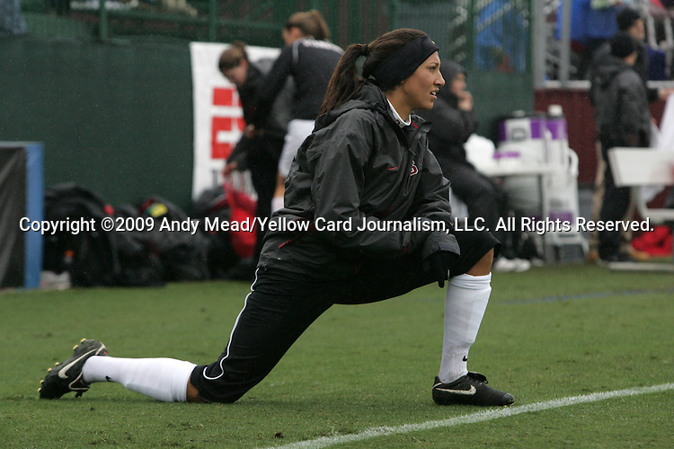 06 December 2009: Stanford's Christen Press. The University of North Carolina Tar Heels defeated the Stanford University Cardinal 1-0 at Aggie Soccer Stadium in College Station, Texas in the NCAA Division I Women's College Cup Championship game.
