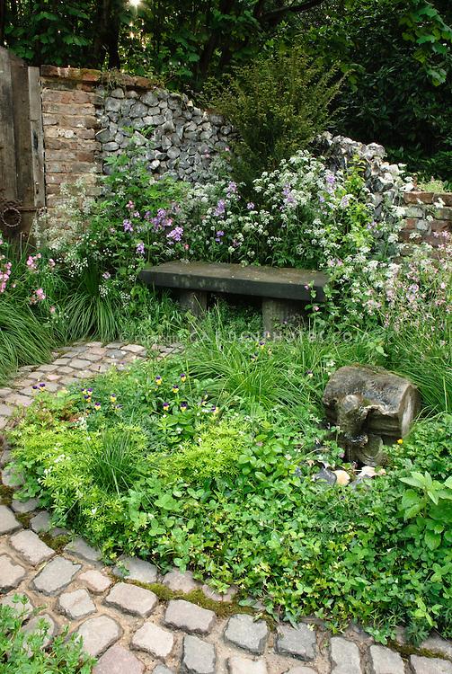 stone pathway walk plant flower stock photography