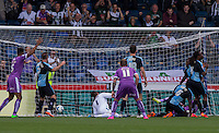 Jake Jervis of Plymouth Argyle scores his teams second & winning goal during the Sky Bet League 2 match between Wycombe Wanderers and Plymouth Argyle at Adams Park, High Wycombe, England on 12 September 2015. Photo by Andy Rowland.
