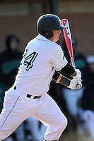 First baseman Zach Krider (24) of the University of South Carolina Upstate Spartans bats in a game against the UNC Asheville Bulldogs on Tuesday, March, 25, 2014, at Cleveland S. Harley Park in Spartanburg, South Carolina. (Tom Priddy/Four Seam Images)