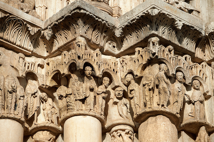 Gothic Sculpted Illustrated Column Capitals From The Cathedral Of Chartres France A UNESCO