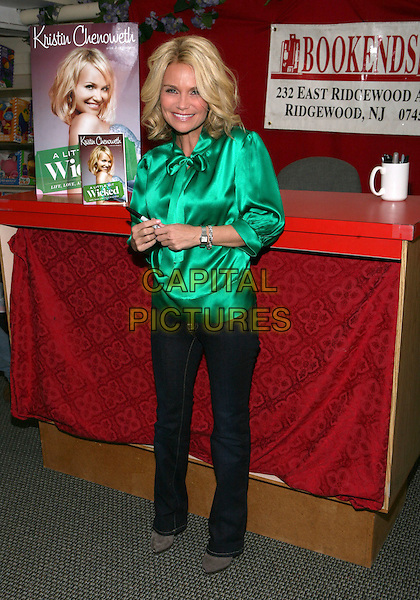 "KRISTIN CHENOWETH.""A Little Bit Wicked"" Book Signing held at Bookends Book Store, Ridgewood, New Jersey, USA..April 17th, 2009.booksigning full length green silk satin blouse jeans denim .CAP/ADM/PZ.©Paul Zimmerman/AdMedia/Capital Pictures."