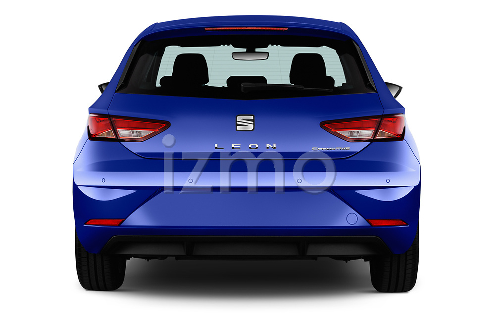 Straight rear view of 2017 Seat Leon Style 5 Door Hatchback Rear View  stock images