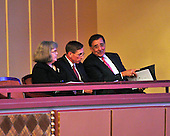 "Left to right: Mrs. Holly Petraeus; Director of the Central Intelligence Agency (CIA) General David Petraeus, United States Army (Retired); and U.S. Secretary of Defense Leon Panetta are pictured prior to ""The Washington National Cathedral's A Call to Compassion"" being hosted at the John F. Kennedy Center for the Performing Arts in Washington, D.C. on Friday, September 9, 2011..Credit: Ron Sachs / Pool via CNP"