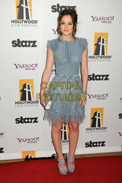 LEIGHTON MEESTER.14th Annual Hollywood Awards Gala Presented By Starz held at The Beverly Hilton Hotel, Beverly Hills, CA, USA. .October 25th, 2010 .full length grey gray blue sheer dress ankle suede shoes clutch bag silver ribbon waist sleeveless platform .CAP/ADM/BP.©Byron Purvis/AdMedia/Capital Pictures