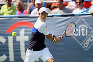 Washington, DC - August 9, 2015: Kei Nishikori of Japan sets to hit a backhand shot during the Citi Open men's single final at Rock Creek Park Tennis Center in Washington, DC,  August 9, 2015.  (Photo by Elliott Brown/Media Images International)