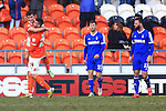 Blackpool's Gary Madine celebrates his opening goal - Blackpool vs. Nottingham Forest - Skybet Championship - Bloomfield Road - Blackpool - 14/02/2015 Pic Philip Oldham/Sportimage