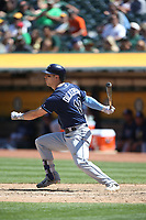 OAKLAND, CA - JULY 19:  Corey Dickerson #10 of the Tampa Bay Rays bats against the Oakland Athletics during the game at the Oakland Coliseum on Wednesday, July 19, 2017 in Oakland, California. (Photo by Brad Mangin)