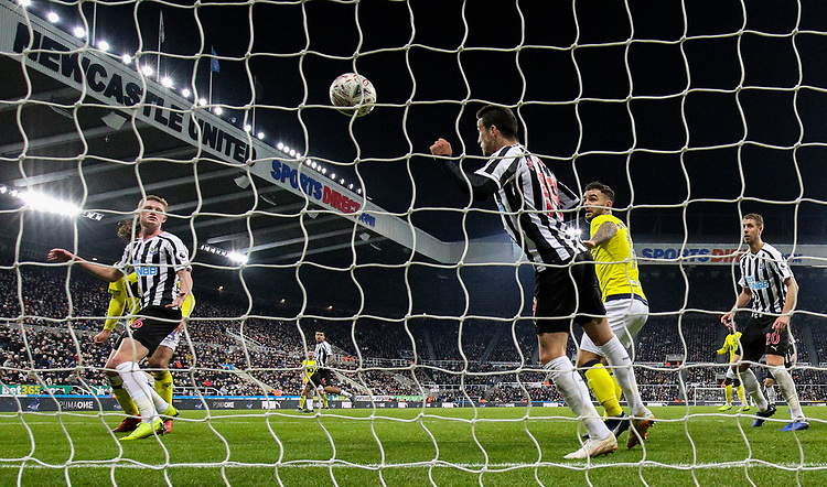 Newcastle United's Javi Manquillo heads off the line from Blackburn Rovers' Charlie Mulgrew<br /> <br /> Photographer Alex Dodd/CameraSport<br /> <br /> Emirates FA Cup Third Round - Newcastle United v Blackburn Rovers - Saturday 5th January 2019 - St James' Park - Newcastle<br />  <br /> World Copyright © 2019 CameraSport. All rights reserved. 43 Linden Ave. Countesthorpe. Leicester. England. LE8 5PG - Tel: +44 (0) 116 277 4147 - admin@camerasport.com - www.camerasport.com