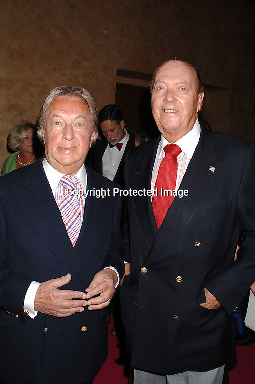 """Arnold Scassi and Parker Ladd..arriving at The Van Cleef & Arpels """"Une Journee a Paris"""" ..party to celebrate Fashion Week on September 4, 2007 at The Hammerstein Ballroom in New York. ..Photo by Robin Platzer, Twin Images....212-935-0770"""