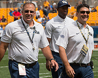 Pitt head football coach Pat Narduzzi (left) walks off the field with Associate Athletic Director Chris LaSala. The Pitt Panthers defeated the Youngstown State Penguins 28-21 in overtime at Heinz Field, Pittsburgh, Pennsylvania on September 02, 2017.