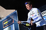 Bob Jungels (LUX) Quick-Step Floors takes the Maglia Bianca young riders jersey on the podium at the end of Stage 7 of the 2017 Tirreno Adriatico a 10km Individual Time Trial at San Benedetto del Tronto, Italy. 14th March 2017.<br /> Picture: La Presse/Gian Mattia D'Alberto | Cyclefile<br /> <br /> <br /> All photos usage must carry mandatory copyright credit (&copy; Cyclefile | La Presse)