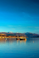 Fishing trawlers on Loch Broom at dusk, Ullapool, Ross & Cromarty, Northwest Highlands