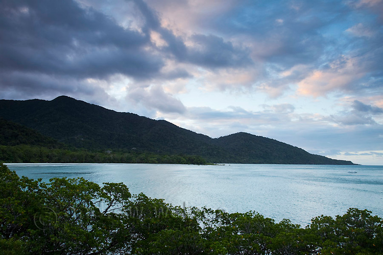 View from Cape Tribulation lookout at dusk.  Daintree National Park, Queensland, Australia