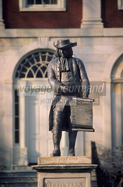 Amérique/Amérique du Nord/USA/Etats-Unis/Vallée du Delaware/Pennsylvanie/Philadelphie : Pennsylvania hospital - Statue de William Penn