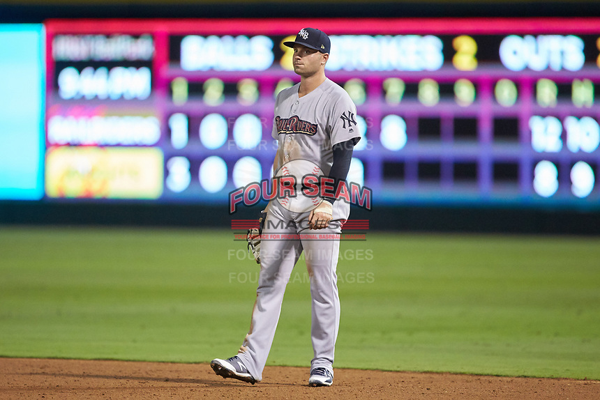 Scranton/Wilkes-Barre RailRiders first baseman Ryan McBroom (6) on defense against the Charlotte Knights at BB&T BallPark on August 14, 2019 in Charlotte, North Carolina. The Knights defeated the RailRiders 13-12 in ten innings. (Brian Westerholt/Four Seam Images)