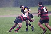 Lepa Taveli hits Cody Hall in a strong tackle. Counties Manukau Premier Club Rugby game between Papakura & Bombay played at Massey Park Papakura on Saturday May 30th 2009..Bombay won 57 - 7 after leading 24 - 0 at halftime.