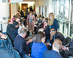 © Joel Goodman - 07973 332324 . 05/10/2016 . Birmingham , UK . Delegates queue from 06:30am for Theresa May's speech at the ICC on the morning of the fourth and final day of the Conservative Party Conference at the International Convention Centre in Birmingham . Photo credit : Joel Goodman