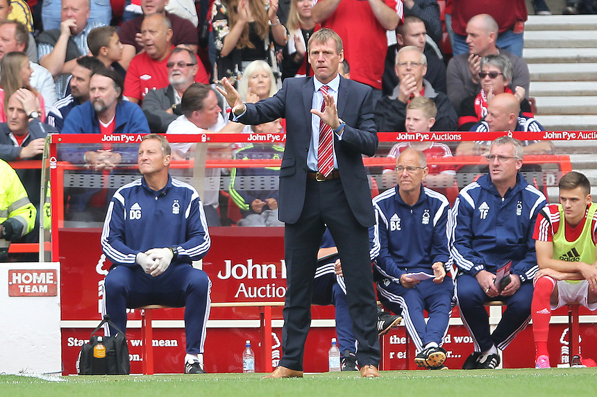 Nottingham Forest's Manager Stuart Pearce <br /> <br /> Photographer Mick Walker/CameraSport<br /> <br /> Football - The Football League Sky Bet Championship - Nottingham Forest v Derby County - Sunday 14th September 2014 - The City Ground - Nottingham<br /> <br /> &copy; CameraSport - 43 Linden Ave. Countesthorpe. Leicester. England. LE8 5PG - Tel: +44 (0) 116 277 4147 - admin@camerasport.com - www.camerasport.com