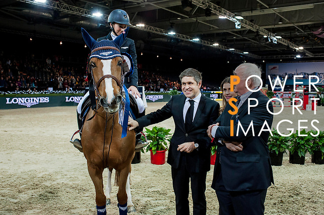 (L-R) Jane Richard Philips of Switzerland, Juan Carlos Capelli and Walter Von Kanel at the Longines Speed Challenge during the Longines Hong Kong Masters 2015 at the AsiaWorld Expo on 13 February 2015 in Hong Kong, China. Photo by Juan Flor / Power Sport Images