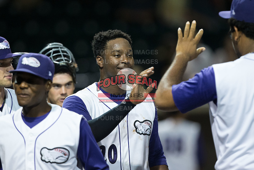 Keon Barnum (20) of the Winston-Salem Dash high fives teammate Jefferson Olacio (39) after scoring the winning run in the bottom of the ninth inning against the Myrtle Beach Pelicans at BB&T Ballpark on August 20, 2015 in Winston-Salem, North Carolina.  (Brian Westerholt/Four Seam Images)