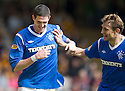 RANGERS' KYLE LAFFERTY CELEBRATES WITH NIKICA JELAVIC AFTER HE SCORES RANGERS' SECOND